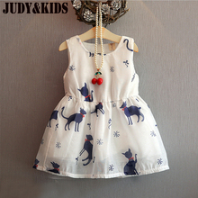 Dresses For Girls Festive Dress Summer New Sundress Cat Animal Print Clothes Holiday Dresses Child Evening The Princess Dress(China)