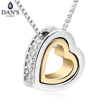 DAN'S ELEMENT Brand Crystals Heart in heart fashion crystal pendant necklace crystal from Swarovski jewelry for women QS10477