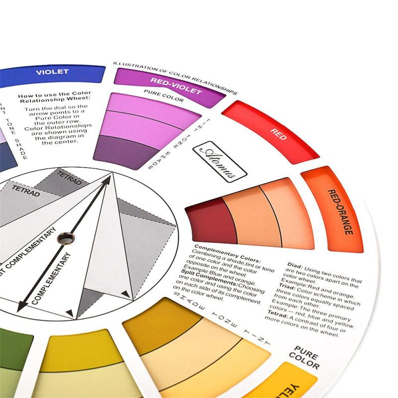 ATOMUS Tattoo Color Wheel Artists Color Wheel Mixing Guide 23.5cm Diameter 2AU24