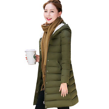 New 2017 Woman Winter Coats And Jackets Slim Long Sleeve Thick Hooded Plus Size Medium-long Parkas Padded Jacket pw0995(China)