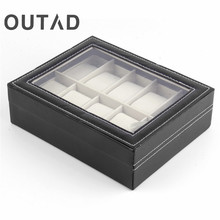 Luxury 10 Grid Slots Leather Watches Display Box Square Jewelry Storage Case Organizer Holder caixa relogio