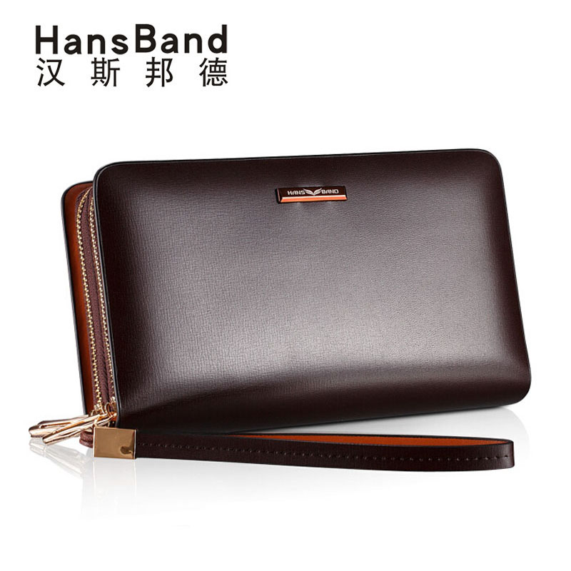HansBan Famous Brand Business Oil Wax Men Luxury Genuine Leather Wallet Male Long Double Zipper Clutch Bags Wallets Handbags<br>