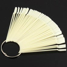 50pcs Natural False Nail Art Tips Display Sticks Polish  Fan Practice Board Kit Clear White For DIY Salon Manicure Tools