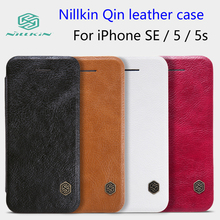 For iPhone SE NILLKIN Qin Leather Case For Apple iPhone 5 / 5s 4.0 inch Phone Cases Cover Flip + Retailed Package(China)
