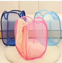 3 pcs Home folding clothes storage baskets 6 colors reticular nylon bathroom laundry kep sundries recieve pink/red/green/blue