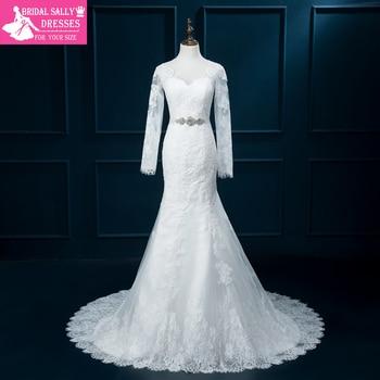 Sheer Long Sleeves Lace Wedding Dress Beading Sash Mermaid Wedding Dresses Vestido De Noiva Casamento Robe De Mariage MTOB1753