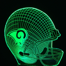 Los Angeles Rams football cap helmet 3D NFL led Color Changing Decor night light by Touch induction control(China)