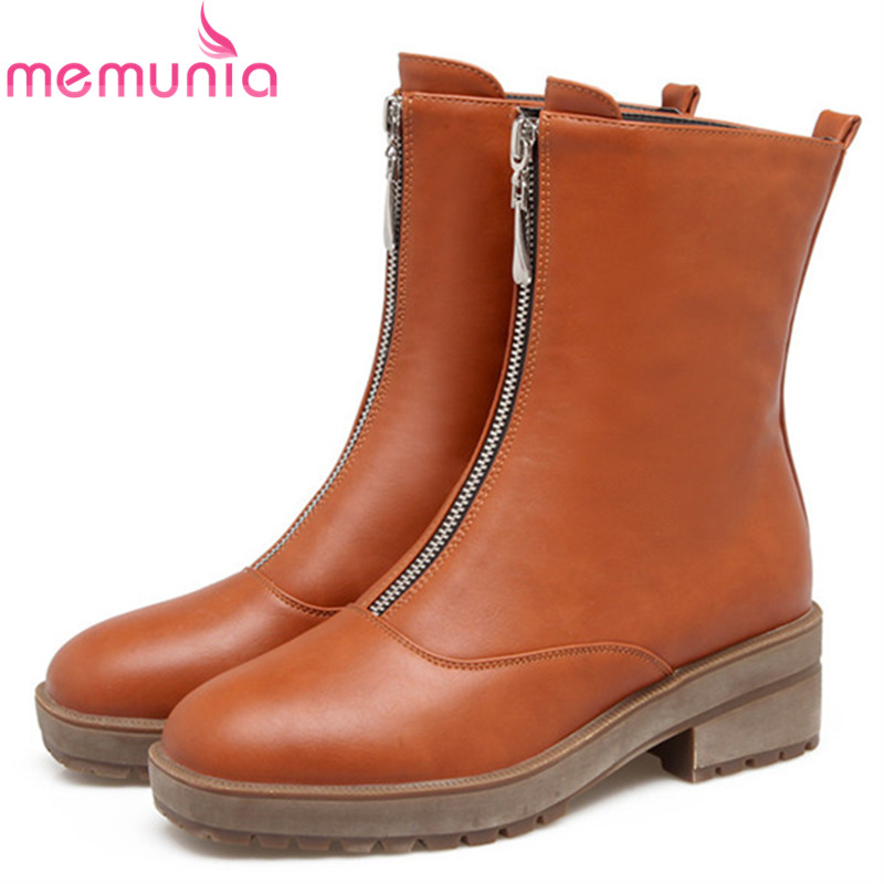 MEMUNIA 2018 fashion new arrive women boots square heel zipper ladies boots square toe black brown yellow ankle boots<br>