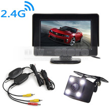 DIYKIT 4.3 Inch Video Car Monitor + HD LED Car Camera Rear View Security System Wireless Parking Reversing System Kit