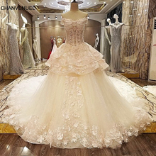 LS8543 Queen wedding dress 3D flowers lace sweetheart ball gown corset back wedding gowns 2017 robe de mariage real photos(China)
