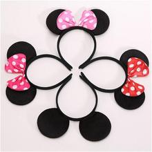 One pcs Lovely Girls Bows Minnie Mickey Mouse Ears Baby Hair Accessories Party Headband kid birthday red rose black blue pink(China)