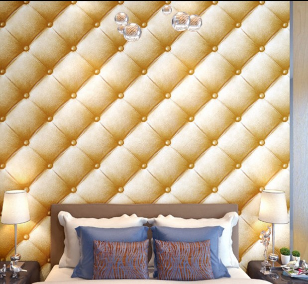 2016 purple stereoscopic 3 d simulation soft package wallpaper Square lattice wall paper sitting room TV setting wall bedroom<br>