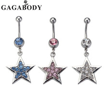 Pretty Belly Piercing Crystal Star Dangle Piercing Navel Ring Belly Bar Body Piercing 1pc  Belly Jewelry 1.6mm