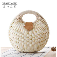 GESHILANXI 2017 New Fashion Top - handle Bamboo bag portable straw bags woven Holiday linen handbag personality shell rattan