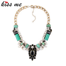 Fashion fashion accessories luxurious Imitation emerald necklace design banquet short female Factory Wholesale