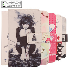 "LINGWUZHE Painted PU Leather Protector Case Flip Cell Phone Cover For Alcatel One Touch POP UP OT-6044D 5""(China)"