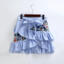 Buy New Women Vintage Ruffles Decoration Embroidery Striped Skirt Sexy Slim Short Pencil Skirts Bow Tied Mini Skirt 2017 for $8.70 in AliExpress store