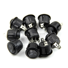 5Pcs Black Mini Round 3 Pin SPDT ON-OFF Rocker Switch Snap-in #S018Y# High Quality(China)