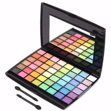 Professional 48 Colors Eye Shadow Makeup Cosmetics Make Up Glitter Multi-color Eyeshadow Palette With Brush Set(China)