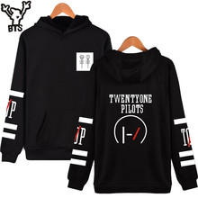 BTS Twenty One Pilots Long Sleeve Mens Hoodies And Sweatshirts Hip Hop Black Cotton Rock Fashion Sweatshirt Men Hooded(China)