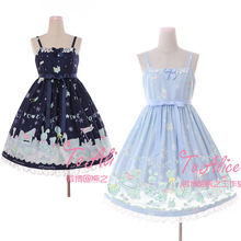 Cute Ice Doll Snowflake JSK Lolita Dress Fairy Kei Sleeveless Sashes Bear Lace Trim Bows Fancy Dolly Dress Navy Blue & Sky Blue