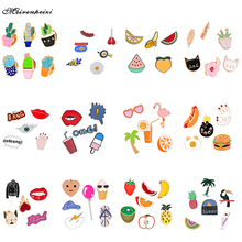 19 Styles Brooch Pin Enamel Cute Animal Dog Cat Fruit Ice Cream Lapel Pin Collar For Women Girl Hat Scarf Pins Brooches Set