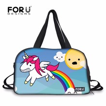 FORUDESIGNS Cartoon Pink Unicorn Gym Bag Printing High Quality Nylon Women Outdoor Fitness Training Shoulder Bag with Shoe Pouch(China)