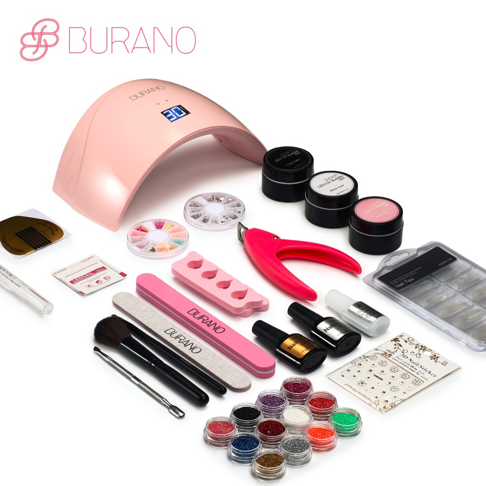 Burano 24LED Dryer Lamp 30 seconds curing lamp  Block Sanding French Nail Art Tips Gel Tools DIY Kit manicure set 003<br>