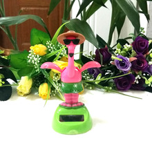 Free Shipping Retail Package Rocking  Under Full Light  Home&Car Decoration Toy Happy Dancing  Solar Powered Crane Style Doll