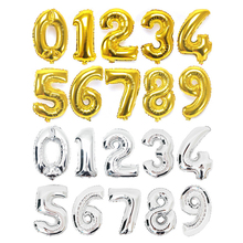 32 Inches Gold Silver Number Foil Balloons Digit Foil Ballons Birthday Wedding Celabrate Decor Air Balloons Event Party Supplie