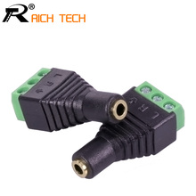 Connector Jack 3.5mm Video AV Balun 3.5mm stereo female to AV Screw Terminal Stereo jack 3.5 mm female 3 pin Terminal Block Plug(China)