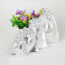 50PCS Silver Drawstring Foil Organza Gift Bags Packaging Bags Wedding Favor Pouch Christmas Party Supplies(China)