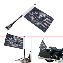 Motorcycle Flag Pole Mount and 6x9 American Flag Skull For Honda Goldwing CB VTX CBR Yamaha Harley Davidson Luggage Rack C/5