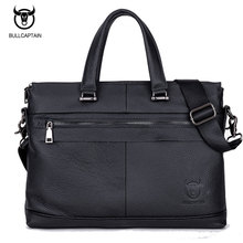 BULL CAPTAIN MEN's LEATHER BRIEFCASE FOR BUSINESS fashion famous brand soft handle tote shoulder bag 15 inch laptop bag #040(China)