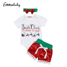 3pcs Baby Girl Clothes Set Newborn Baby Girl Xmas Romper Jumpsuit+Sequines Short Pant 2017 New Christmas Bebes Girls Clothes Set