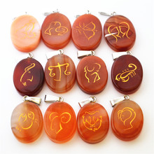 New Fashion Natural Red Onyx Agates Stone Oval Pendants Women Charms Necklace Carving Twelve Constellations 12PCS Free Shipping(China)