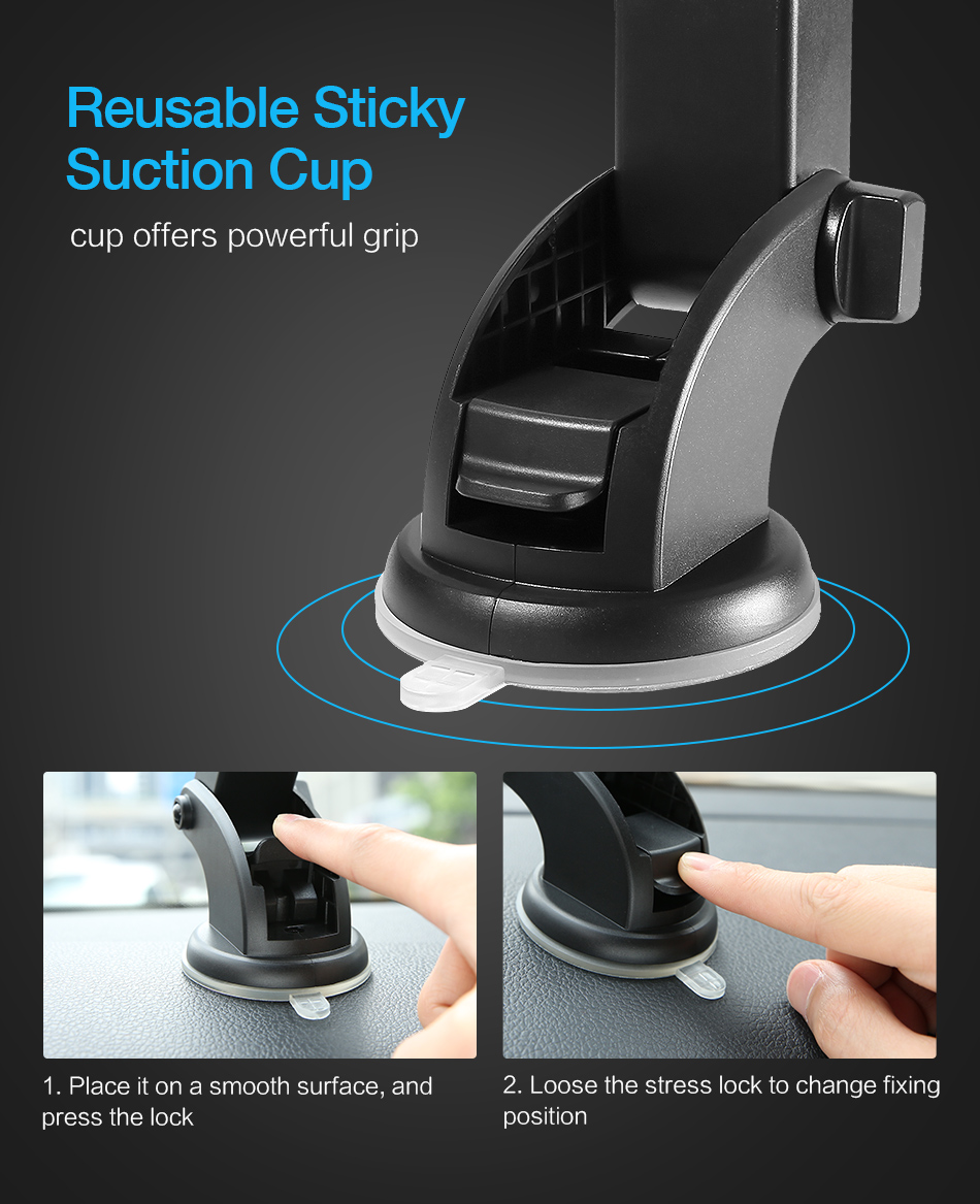 RAXFLY Telescopic Automatic Lock Car Holder 360 Rotation Adsorption Vehicle Mount Bracket Car Phone Holder For Samsung S9 Plus (5)