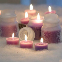 Romantic purple small candle jelly tealight mousse candle essential oil candle decoration candle(China)