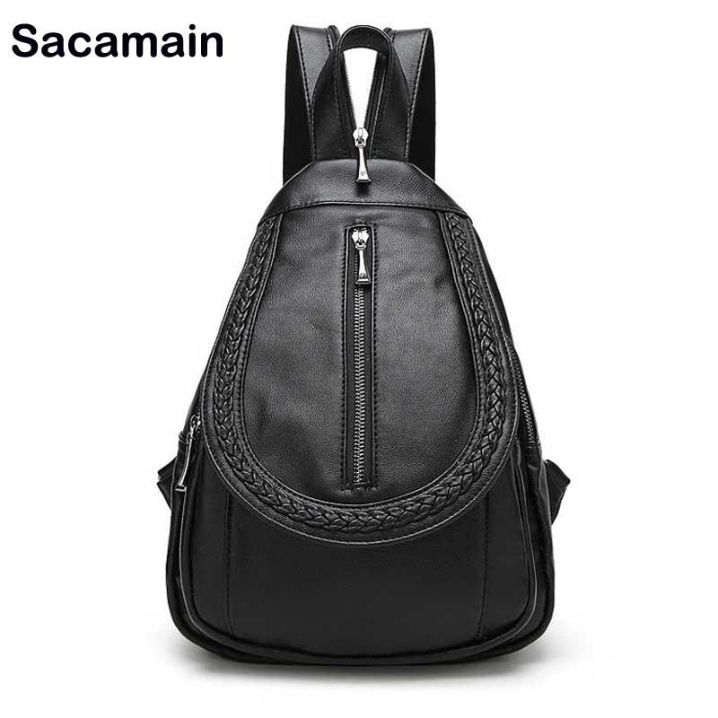 Sacamain Brand Rukzaki Mini Backpacks For Women Designer Leather Backpack Women Drawstring Bag Back Pack Travel Backpack<br>