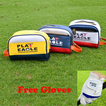 3 pcs/lot 3D Embroidery Logo PU Golf Pouch Mini Waterproof Golf Handbag Golf Cart Bag Accessories with Free Golf Gloves(China)