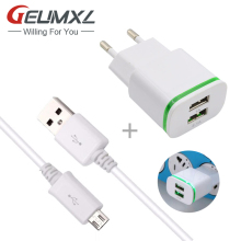 2-Port Quick Charging 2.1A USB adaptive fast charger + Micro USB Cable for samsung galaxy s6 s7 edge note 4 5 J5 J7 A3 A5 2016