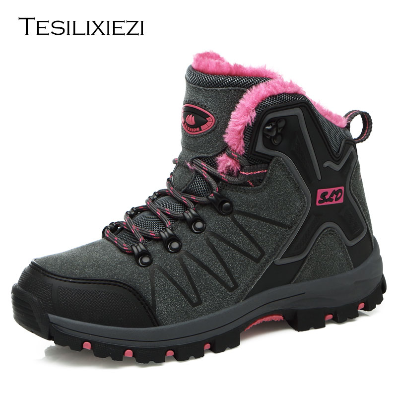 Women Genuine Leather Hiking Shoes Boots Camping Climbing Shoes Female Sneakers Breathable Mountain Walking Boots Warm Plush<br>