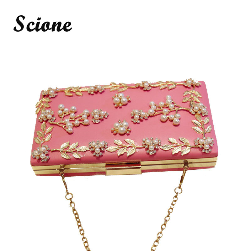 Luxurious Handmade Flower Clutch Bag Women Evening Bags with Chain Pearl/Diamonds Clutches Purses Ladies Wedding Handbag JXY818<br><br>Aliexpress