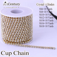 High Quality Flatback 10 Yards Clear Crystal Sew On Densify Rhinestone Cup Chain All size