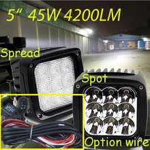 "Free DHL/UPS Ship,5.5"" 45W 4200LM 10~30V,6500K,LED working light;Free ship!Optional wire;motorcycle light,forklift,tractor light"