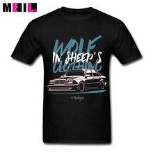 Man Wolf in Sheep's Clothing Mercedes E500 W124 T shirt Big Size Cool Car Design Tee Shirts Short Sleeves Tee shirt