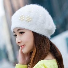 Berets - New Arrival Pearl Angora Hat Female Winter Tide Knit Winter Beret Rabbit Fur Hat #1864010