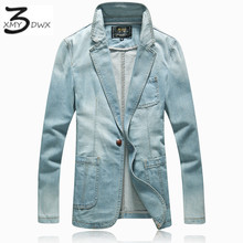 XMY3DWX New fashion male slim fit pure color jean jackets/Men fall for high grade cotton Lapel a buckle Denim jacket coat S-3XL