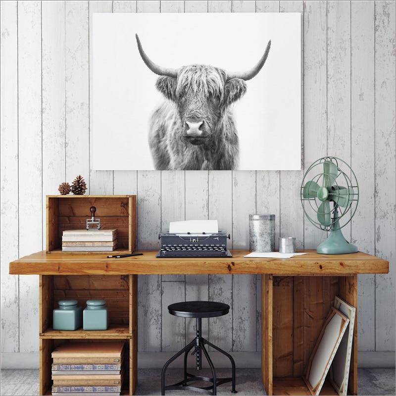 Bull poster canvas wall art print