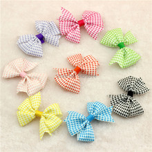 "3.2"" Plaid Tartan Checkered pattern Ribbon Bows Kids Hair accessories Toddlers Girls Hair clip Kid Colorful hairpin 400pc(China)"